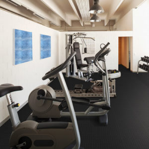 Modern house interior, fitness area